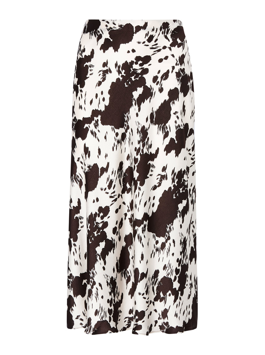 Marie Cow Print Midi Skirt by KITRI Studio