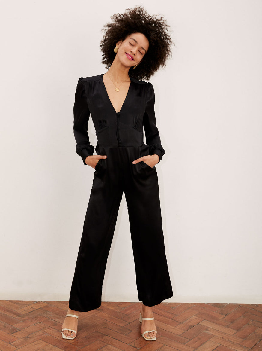 Martina Black Wide Leg Jumpsuit by KITRI Studio