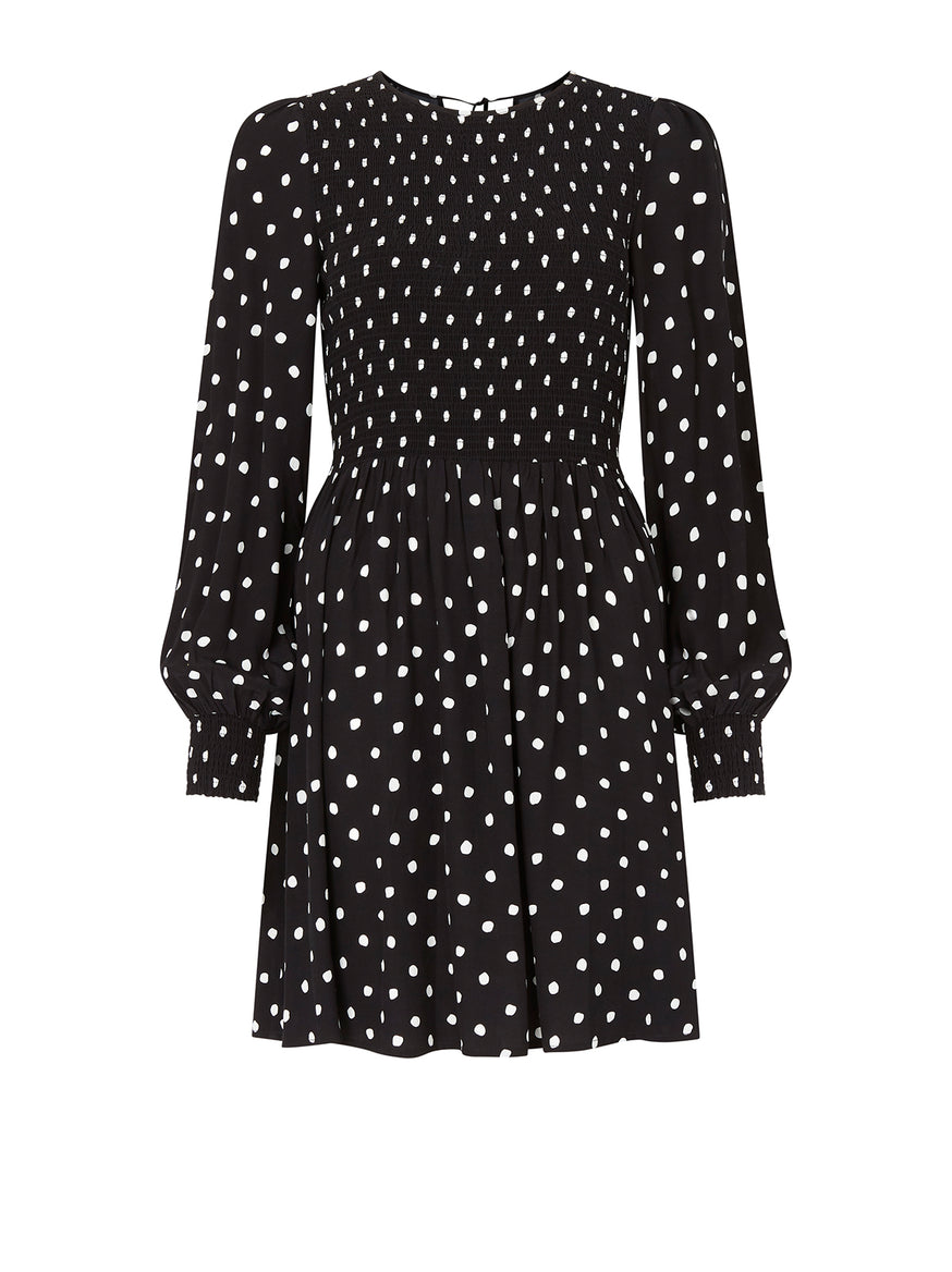 Mathilde Polka Dot Smocked Mini Dress