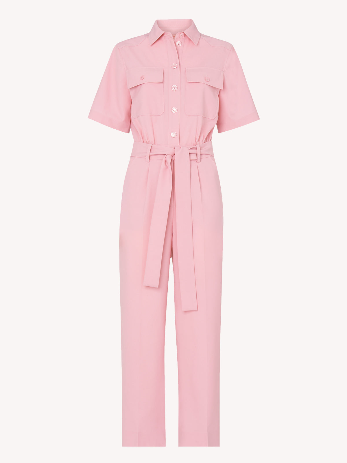 Mika Pink Tailored Short Sleeve Jumpsuit by KITRI Studio