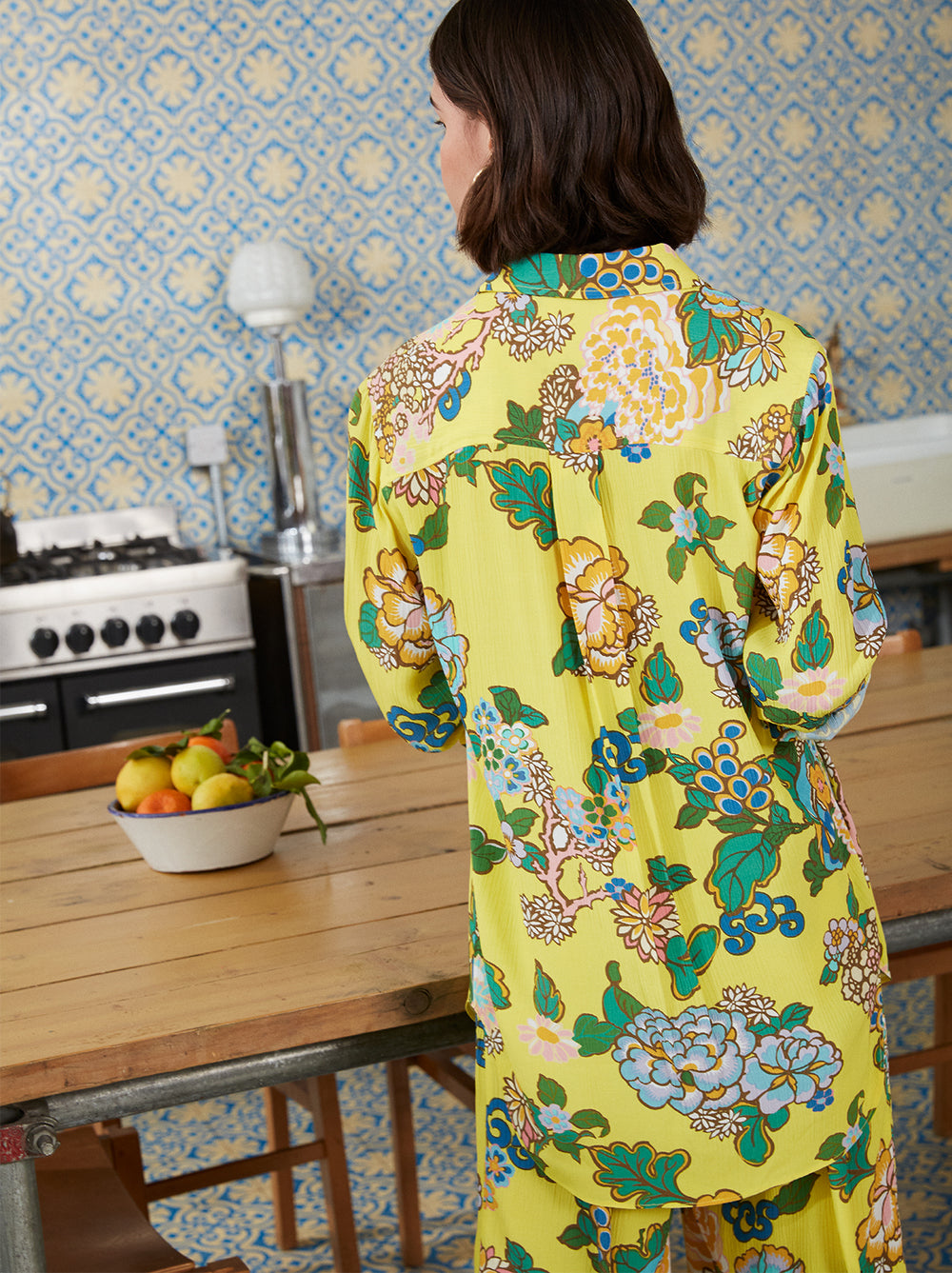 Milana Yellow Printed Oversized Shirt by KITRI Studio
