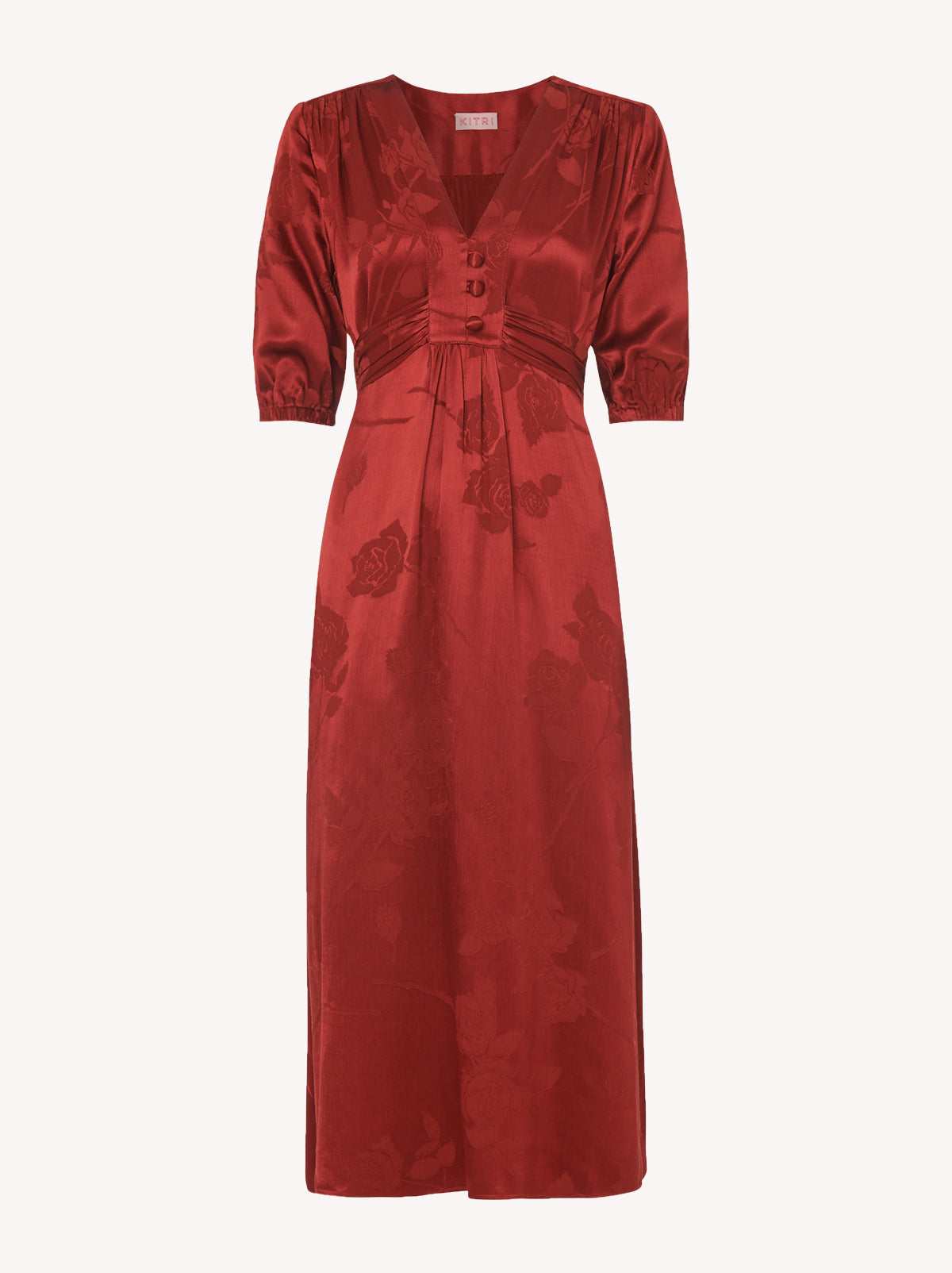 Minka Rust Red Jacquard Tea Dress by KITRI Studio