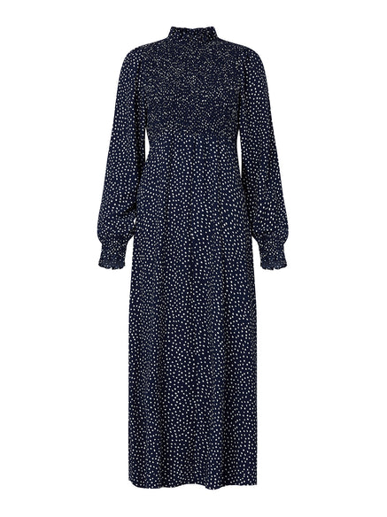 Molly Navy Spot Print Smocked Dress