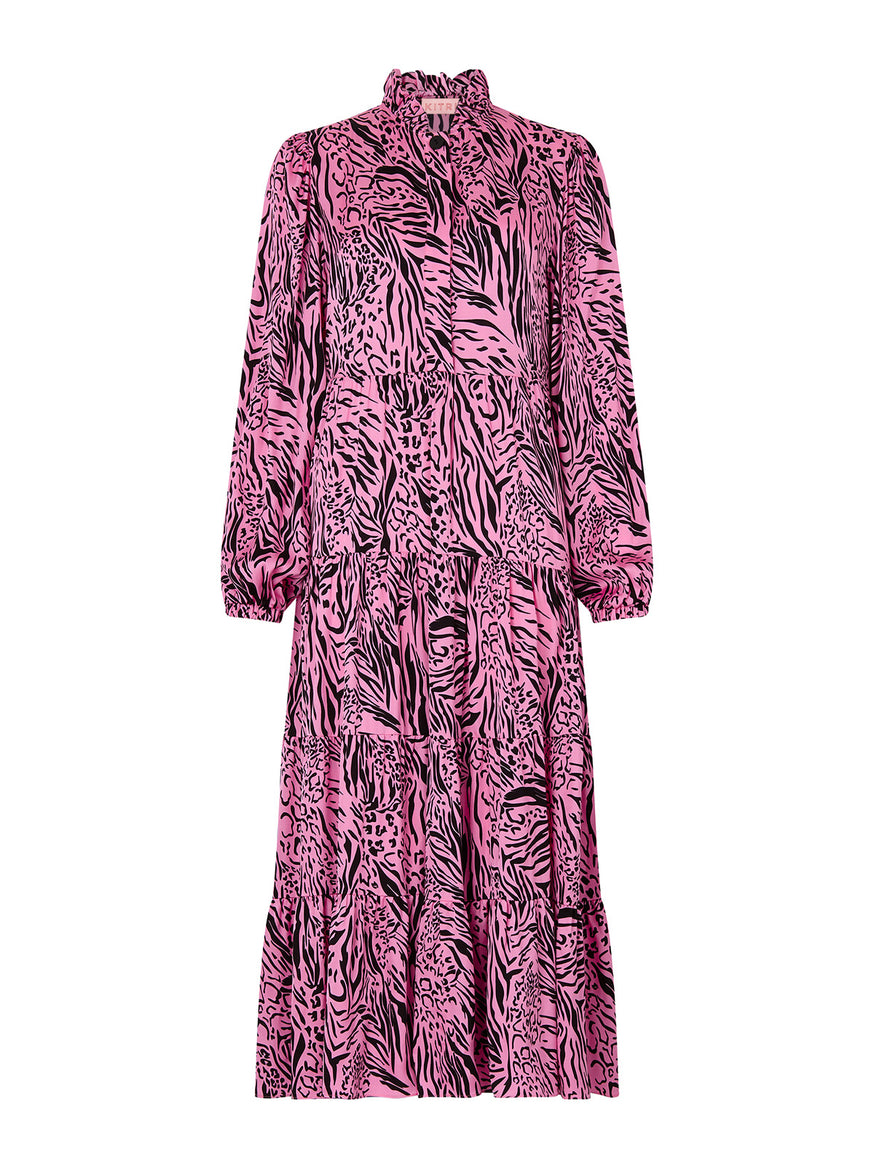 Natalia Pink Animal Print Maxi Dress by KITRI Studio