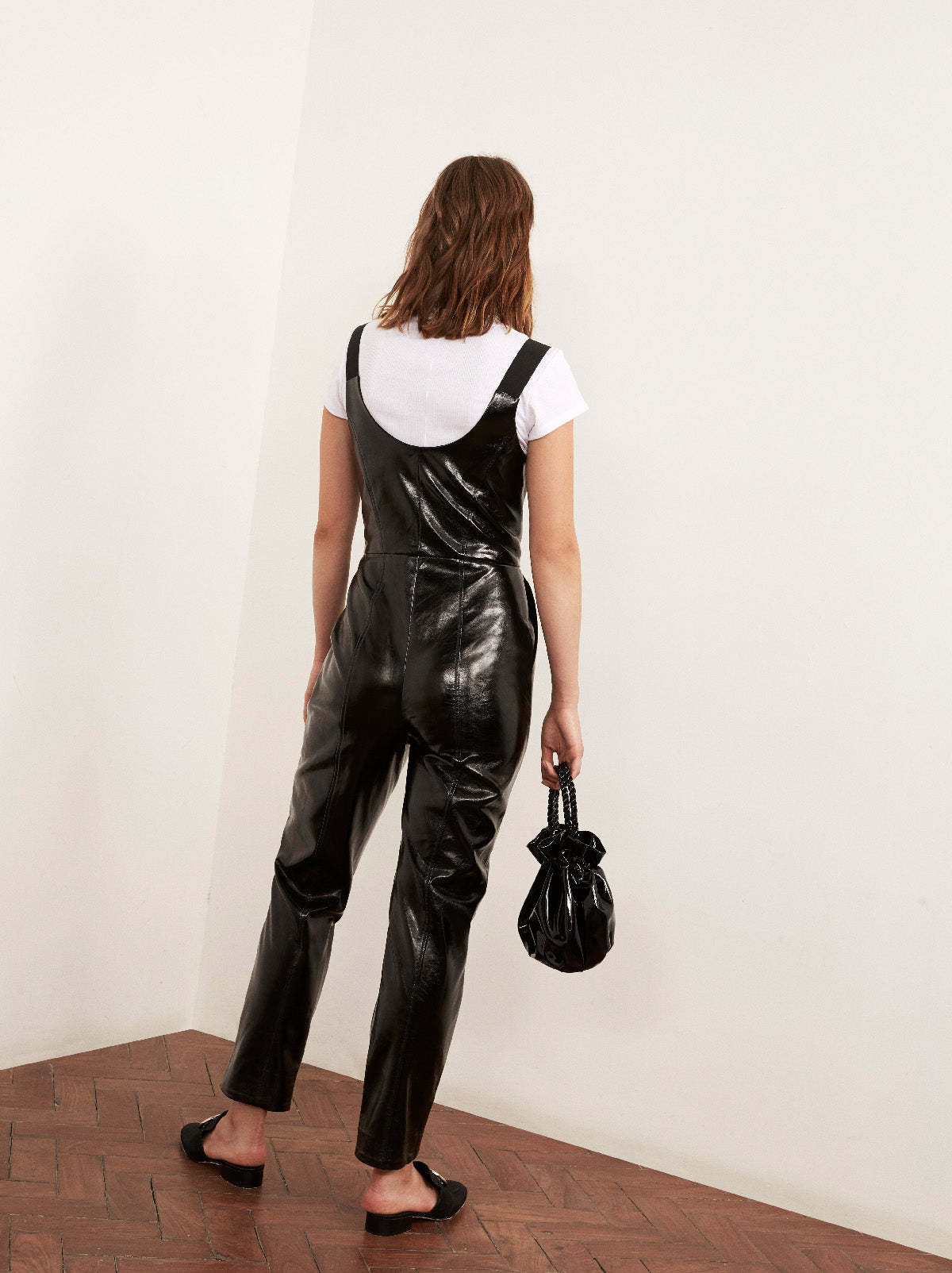 Nikki Black Vinyl Jumpsuit by KITRI Studio