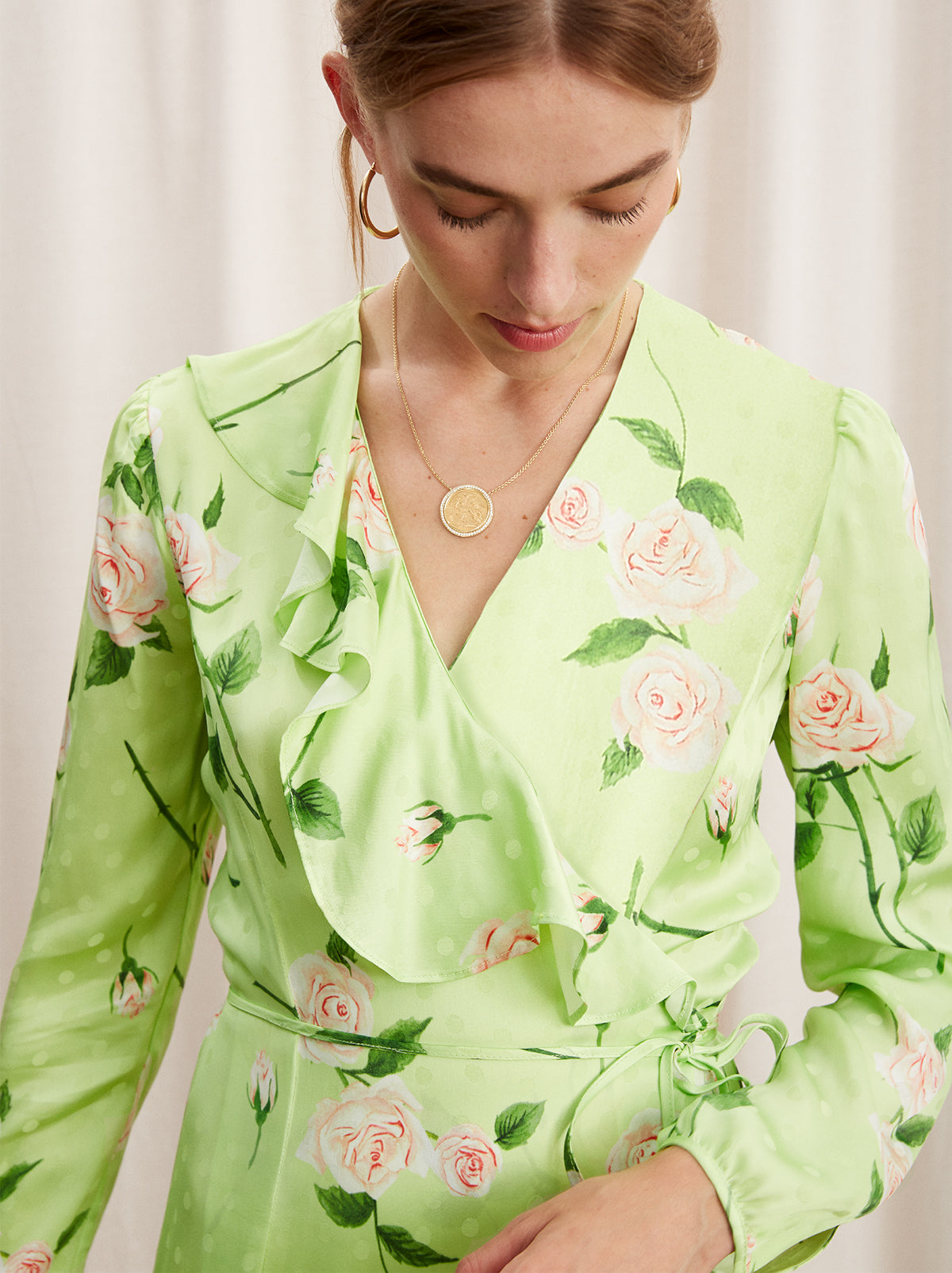 Nita Green Floral Print Frill Wrap Dress by KITRI Studio