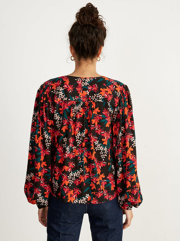 Noa Printed Oversized Statement Sleeve Blouse by KITRI Studio
