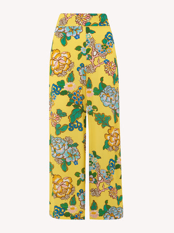 Nola Yellow Printed Wide Leg Trousers Wide by KITRI Studio