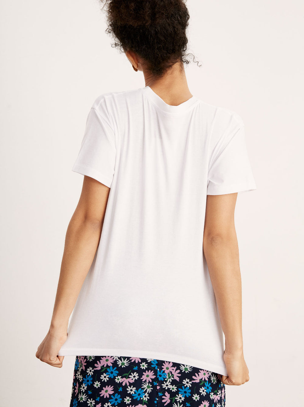 Oh Snap White Embroidered Cotton T-shirt by KITRI Studio