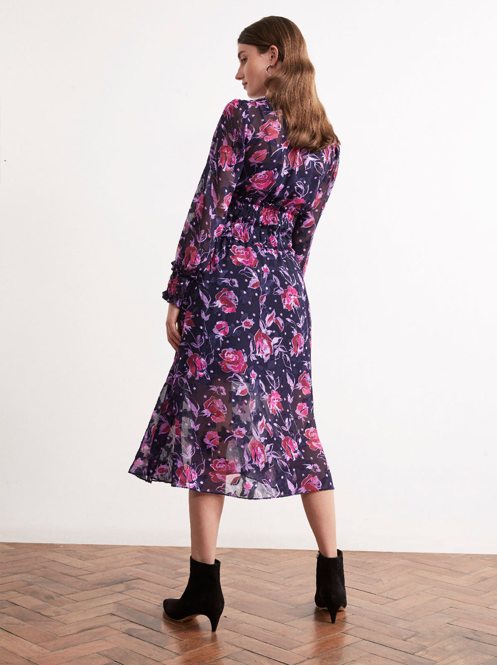 Nyla Purple Floral Print Smocked Midi Dress by KITRI Studio