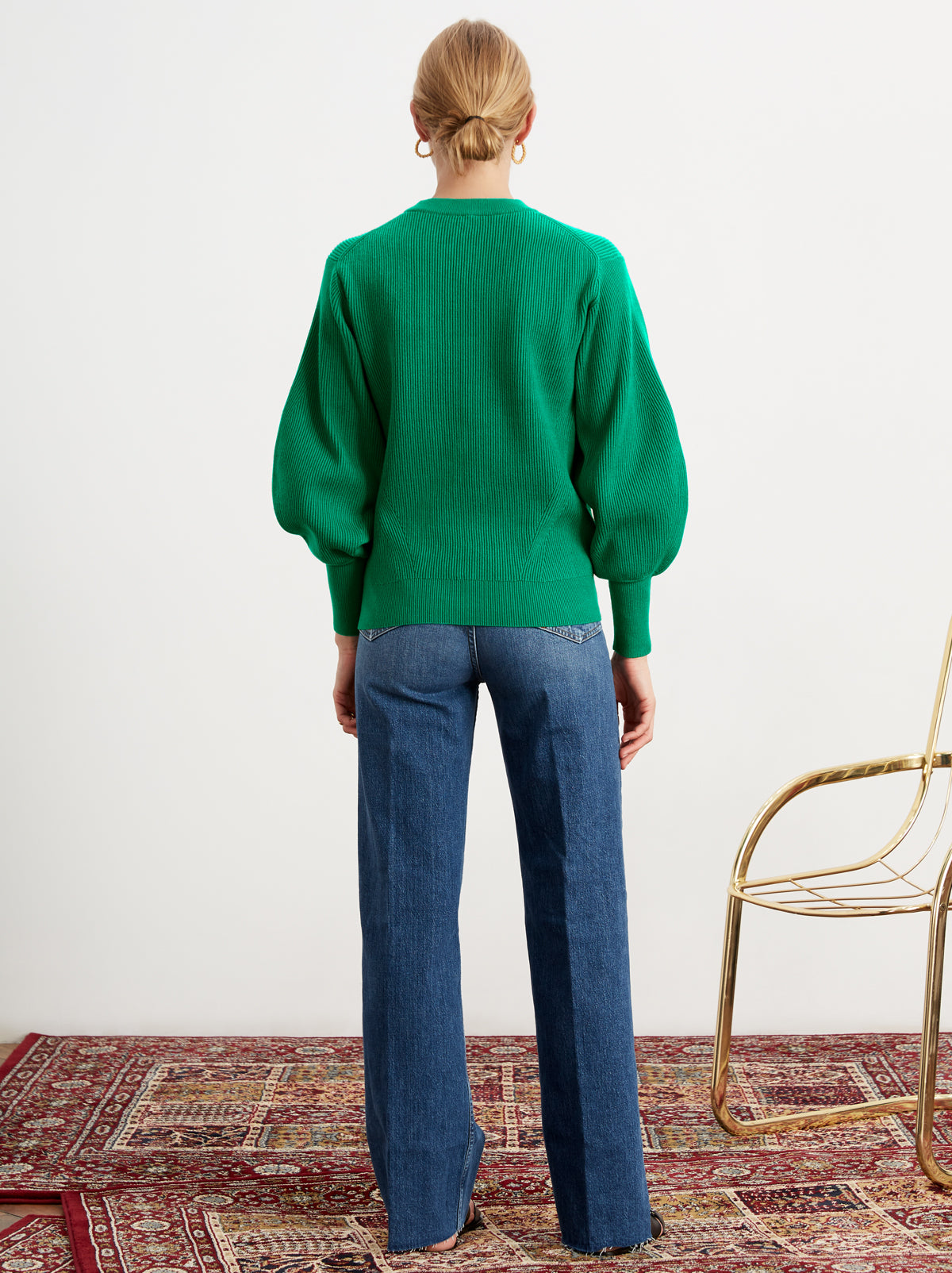 Odell Green Rib Knit Jumper