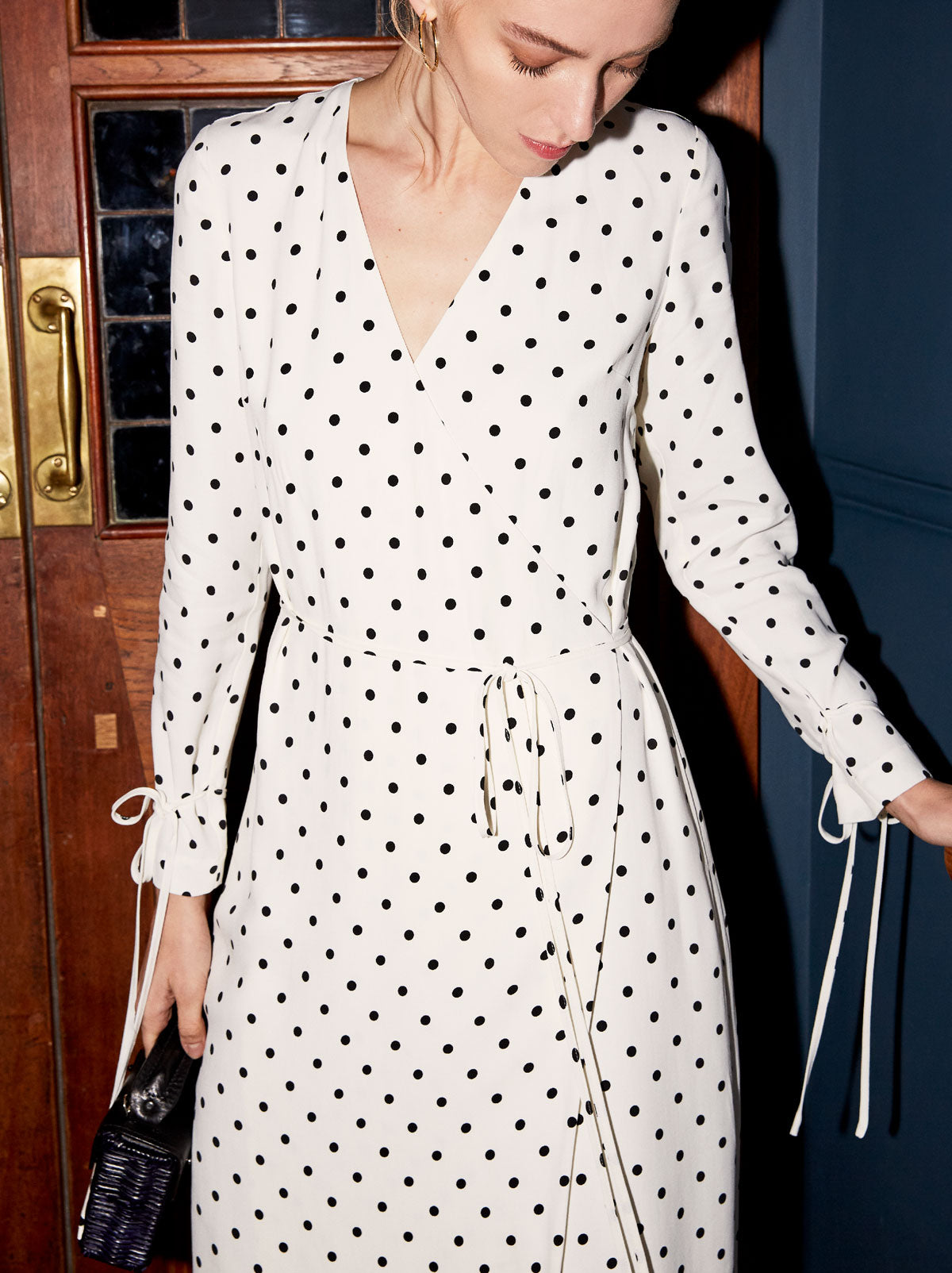 Odile White Polka Dot Wrap Midi Dress by KITRI Studio
