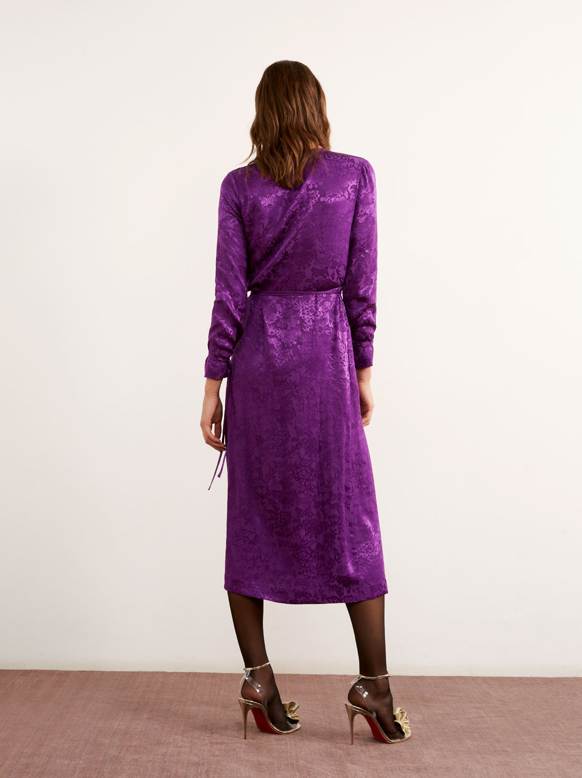 Odile Purple Floral Print Wrap Dress by KITRI Studio