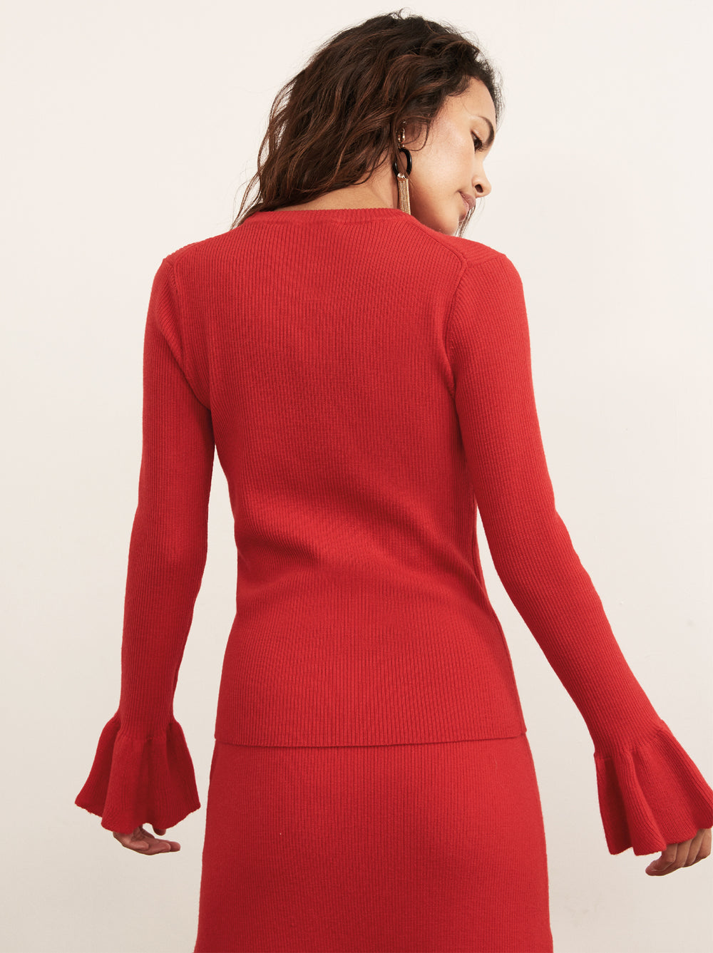Vivien Red Merino Rib Knit Jumper by KITRI Studio