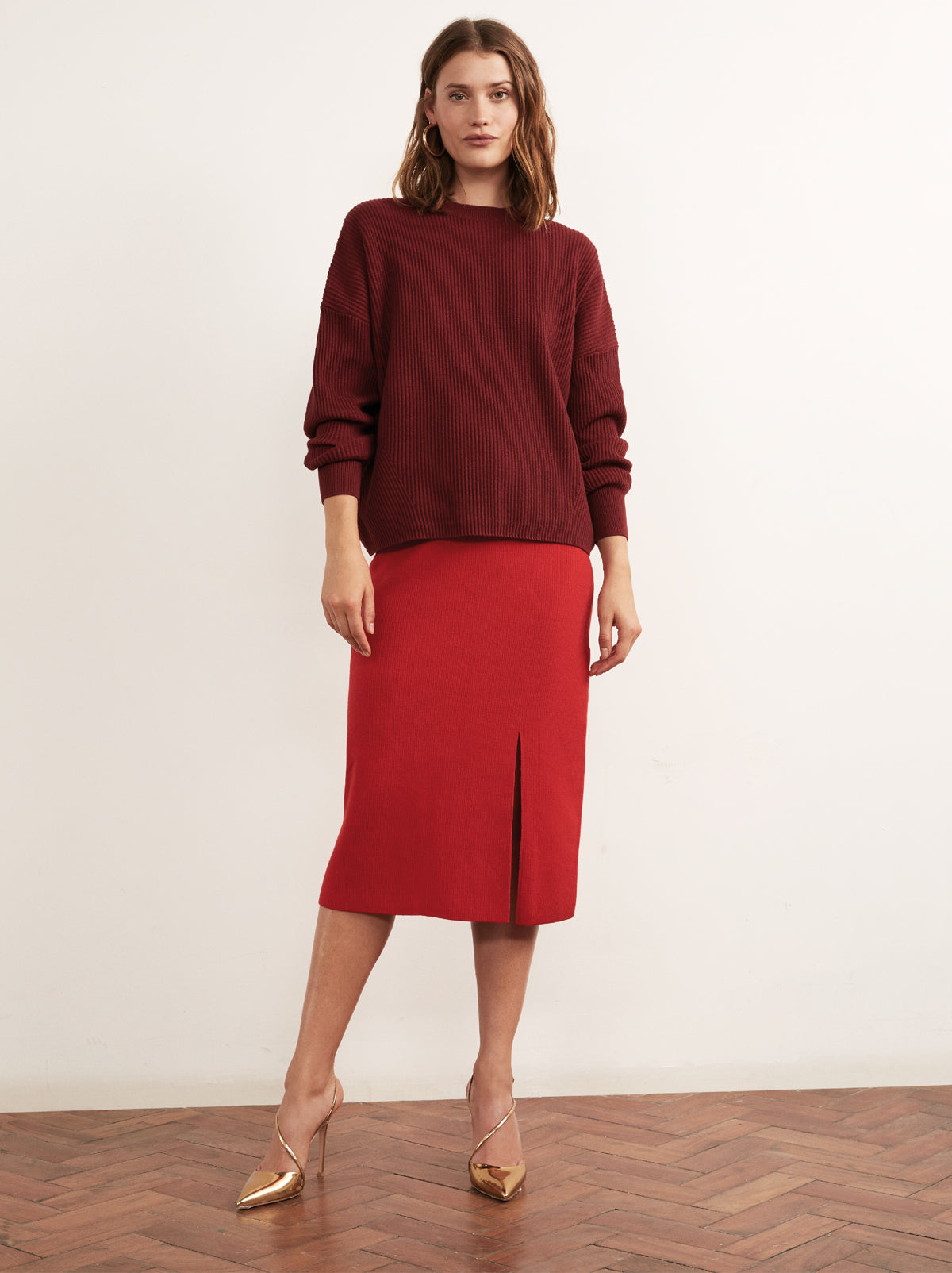 Olympia Red Merino Rib Knit Skirt by KITRI Studio