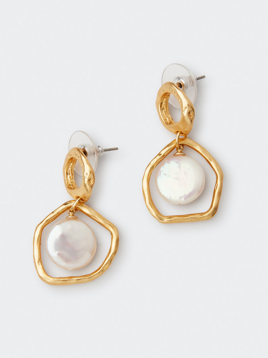 Organic Oval Gold and Mother of Pearl Gold Drop Earrings by KITRI Studio