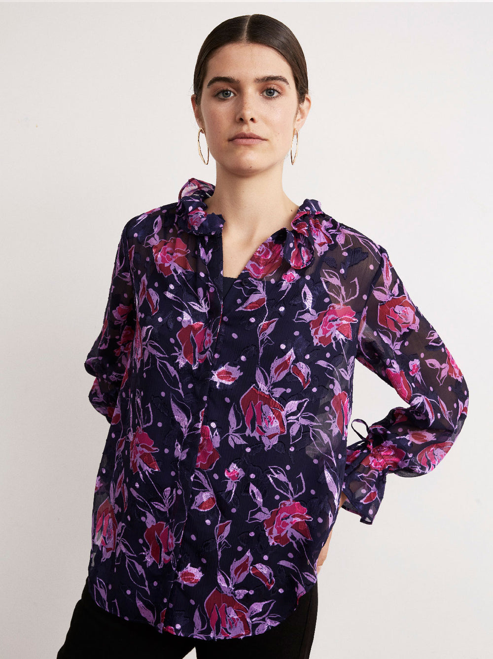Orla Purple Floral Print Pirate Blouse by KITRI Studio