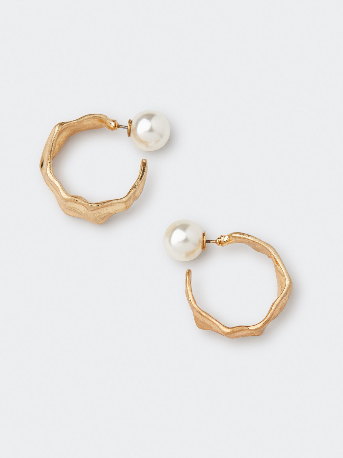 Pearl and Hammered Gold Drop Earrings by KITRI Studio