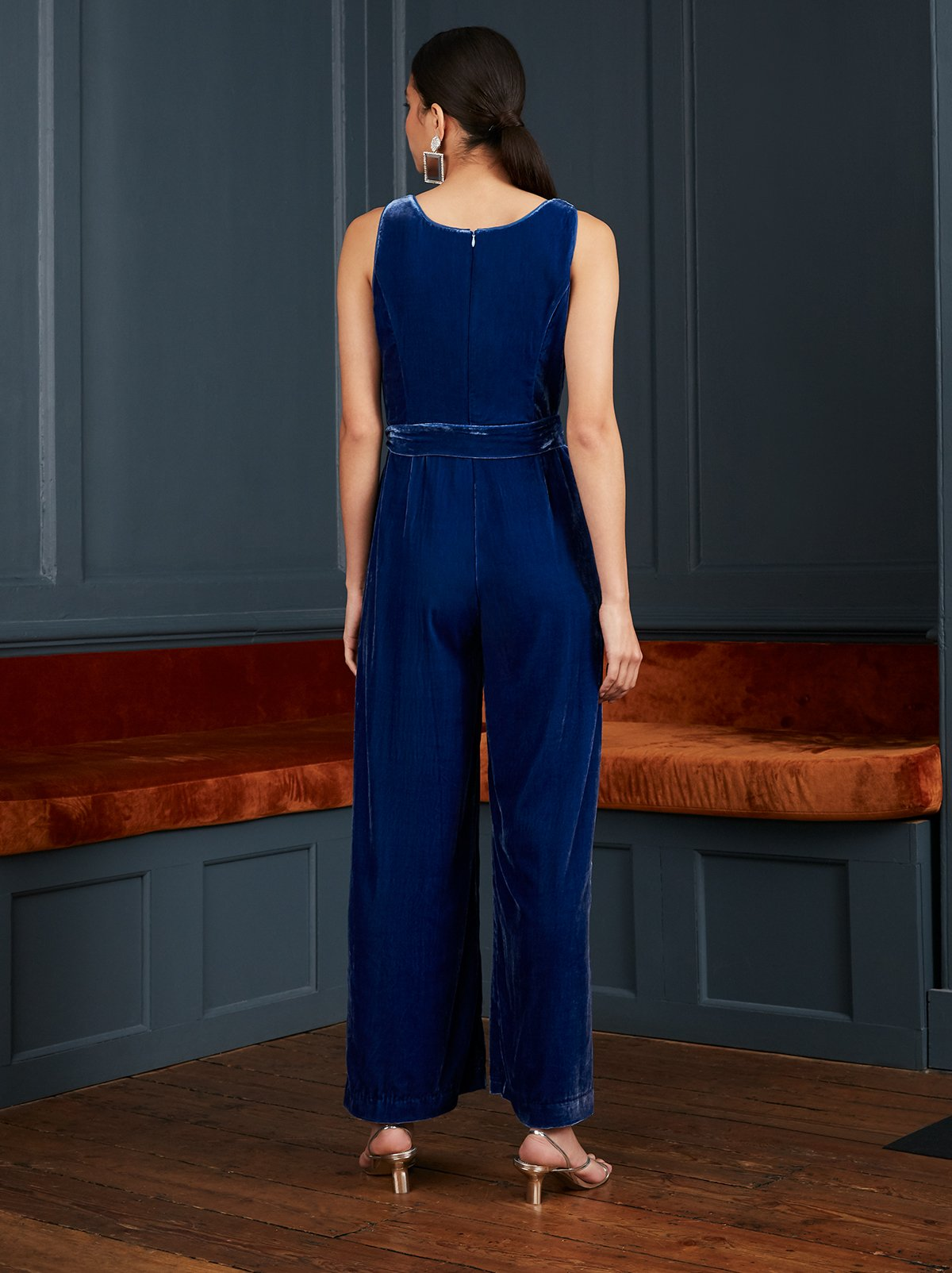 Peggy Blue Embroidered Velvet Jumpsuit by KITRI Studio