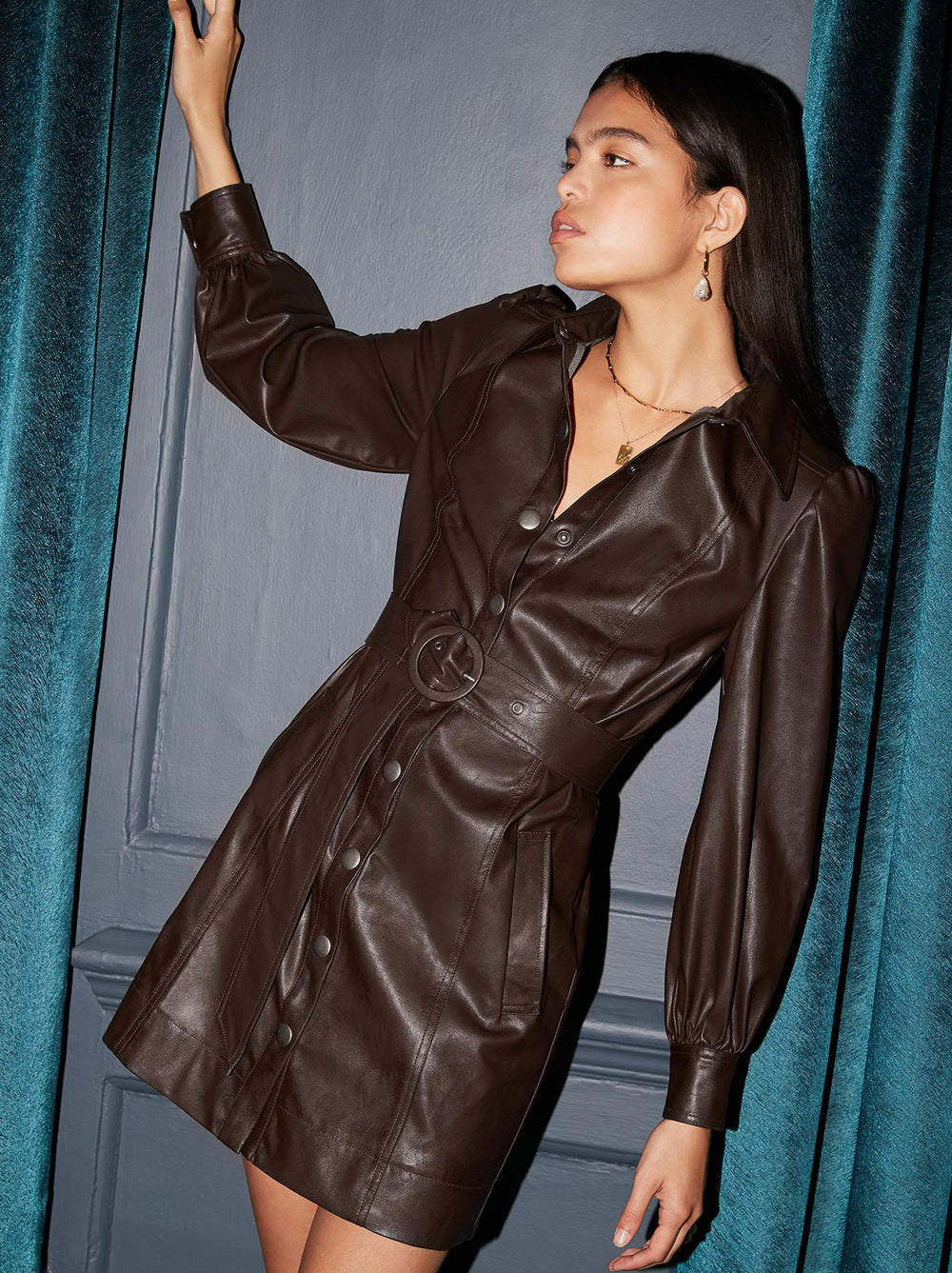 Penelope Brown Faux Leather Dress by KITRI Studio
