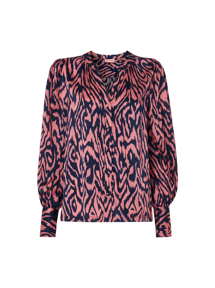 Penny Animal Print Silk Blouse by KITRI Studio