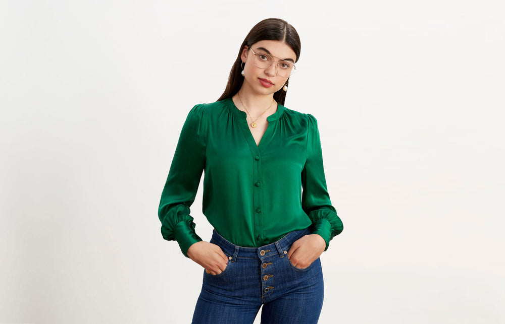 Penny Green Silk Blouse by KITRI Studio
