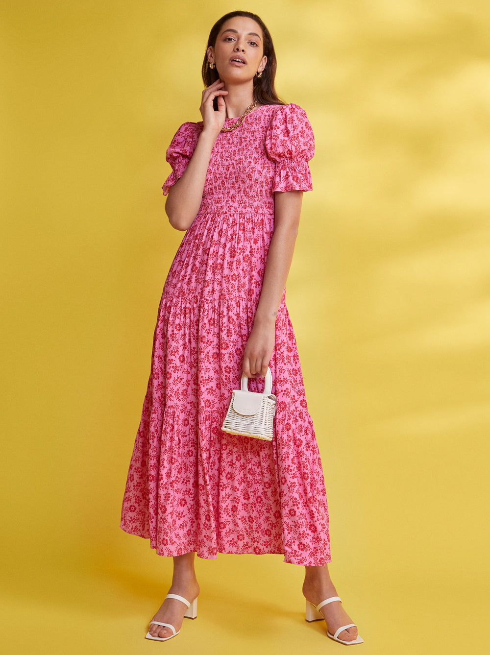 Persephone Shirred Pink Floral Dress by KITRI Studio