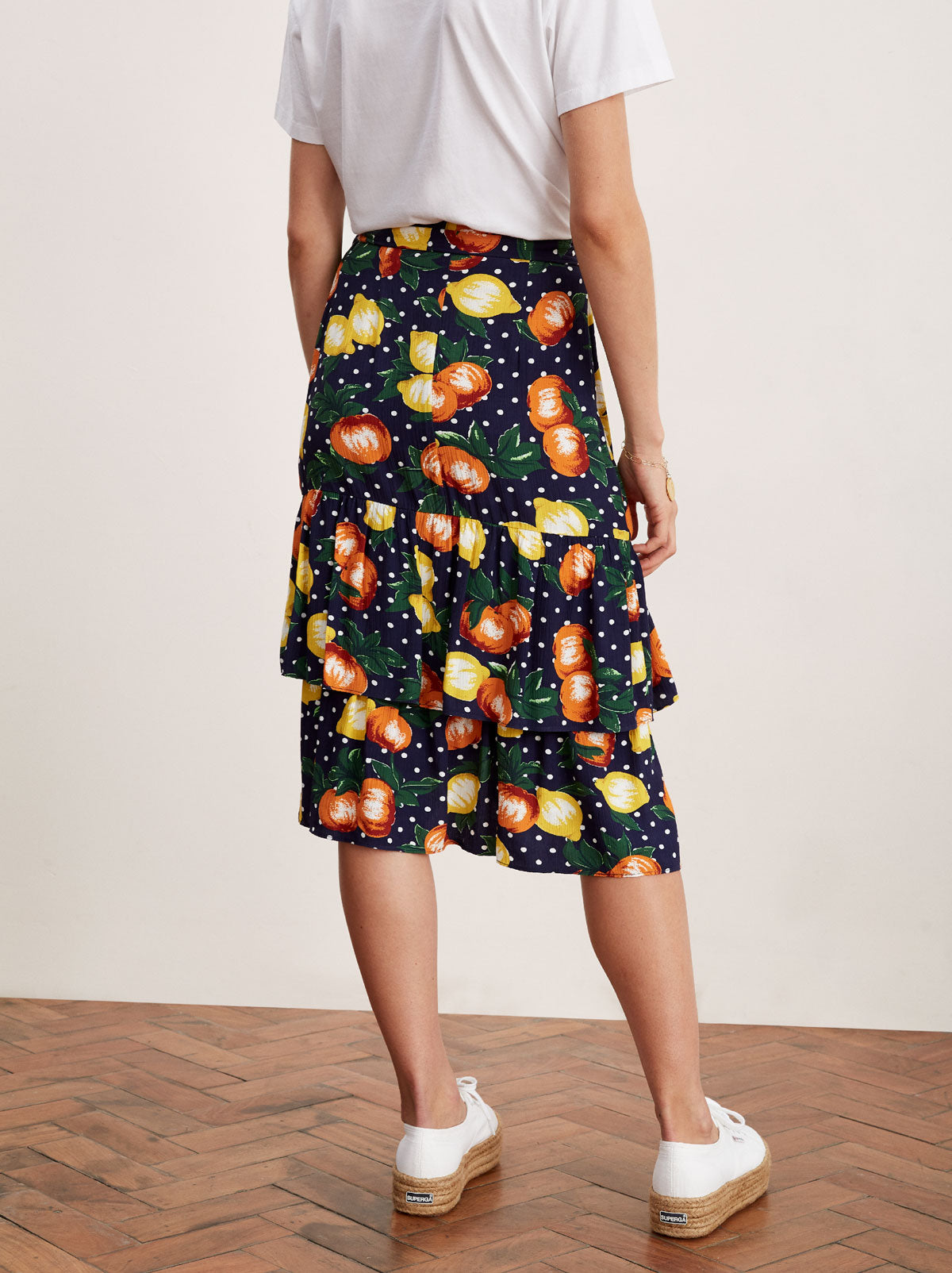 Petulia Fruit Print Wrap Midi Skirt by KITRI Studio