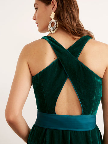 Prunella Green Velvet Wide Leg Jumpsuit by KITRI Studio