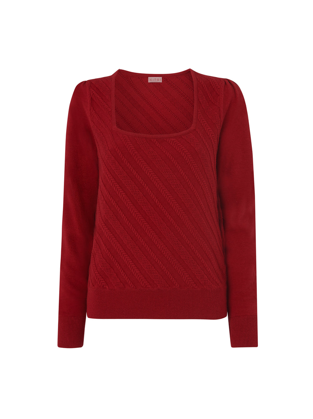 Raven Red Cable Knit Jumper by KITRI Studio