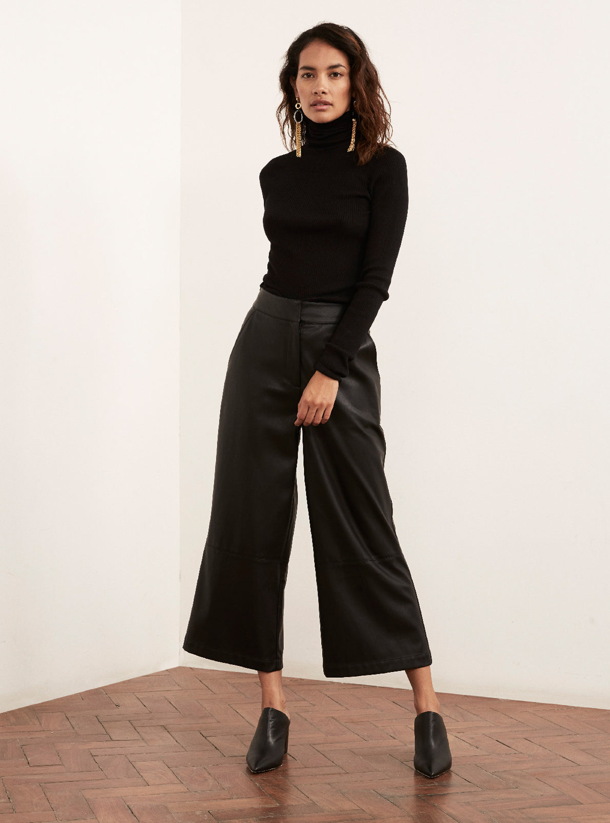 Remi Black Vegan Leather Trousers by KITRI Studio
