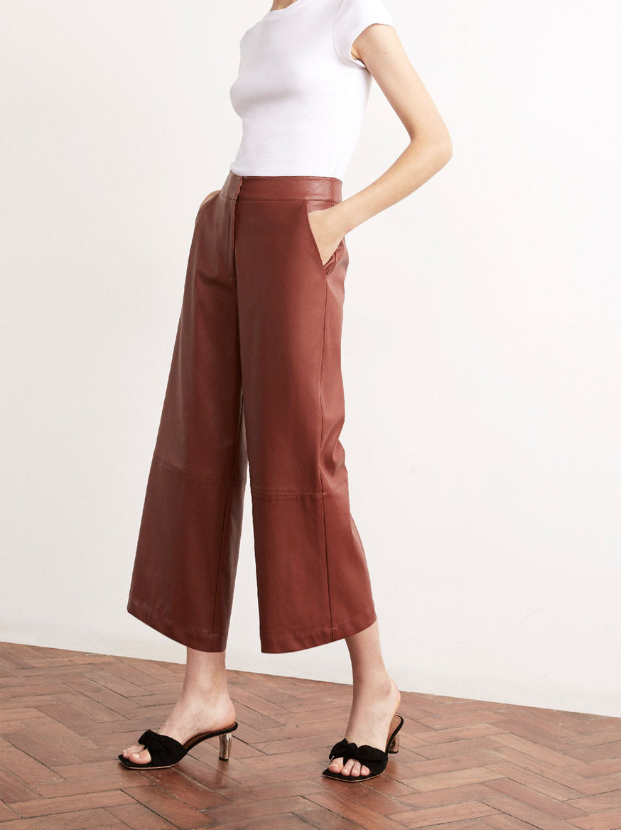 Remi Brown Vegan Leather Wide Leg Trousers by KITRI Studio
