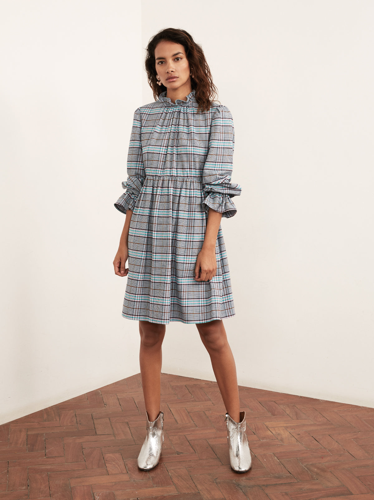 Robyn Checked Babydoll Dress by KITRI Studio