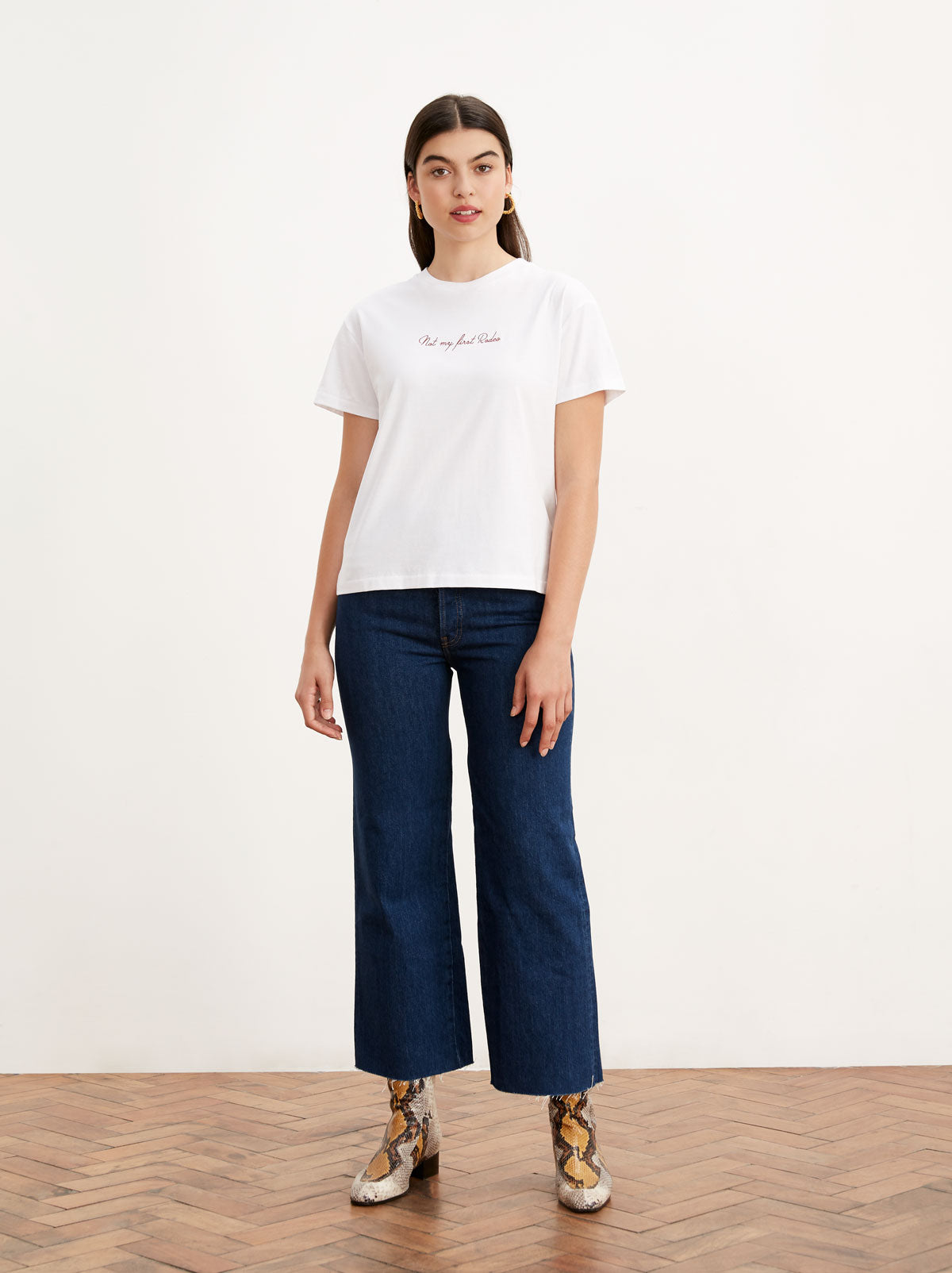 Rodeo White Embroidered T-Shirt