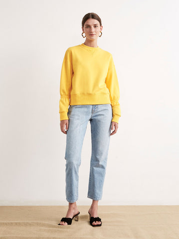 Roman Yellow Cotton Elasticated Sweatshirt by KITRI Studio