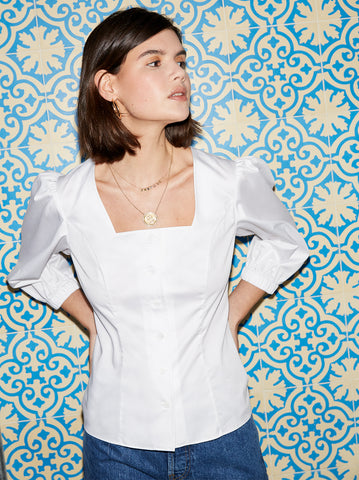 Ruby White Cotton Volume Sleeve Shirt by KITRI Studio