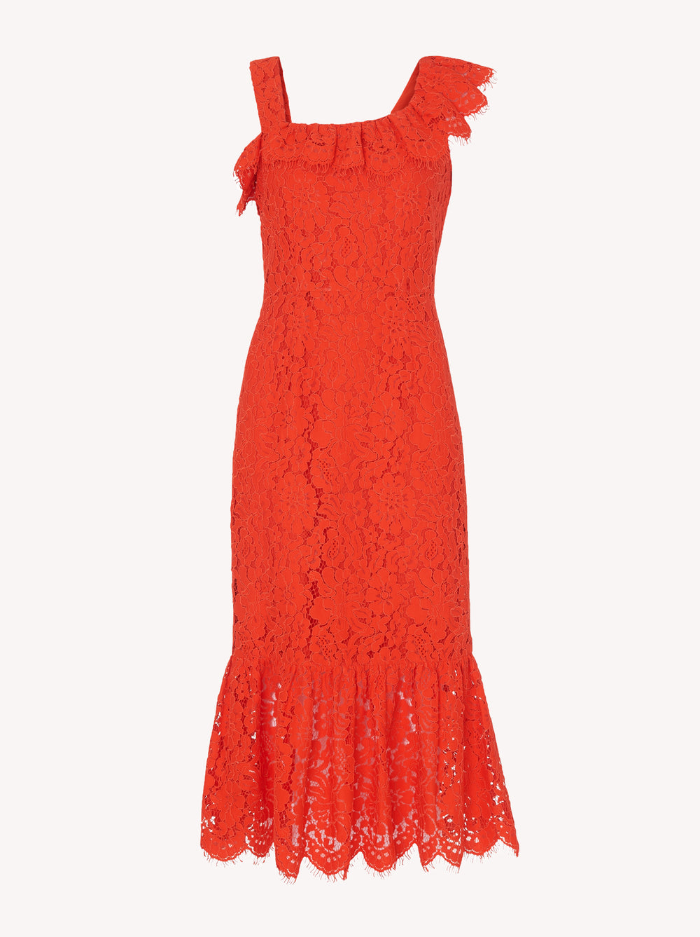 Sabine Orange Lace Frill Hem Dress by KITRI Studio