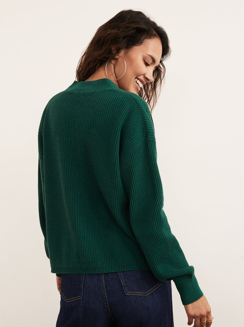 Sana Dark Green V-Neck Cardigan by KITRI Studio