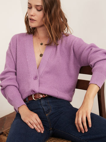Sana Ultraviolet V-Neck Cardigan by KITRI Studio
