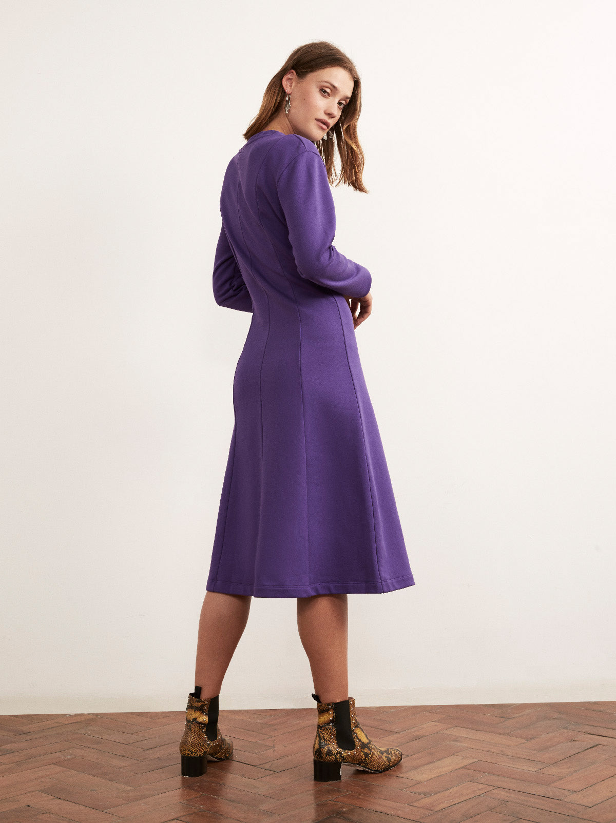 Saana Purple Cotton Panelled Sweatshirt Midi Dress by KITRI Studio