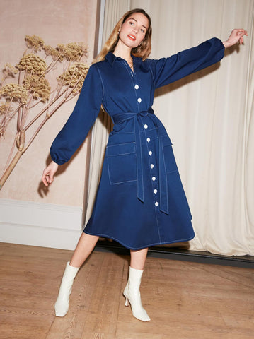 Sara Navy Midi Shirt Dress by KITRI Studio