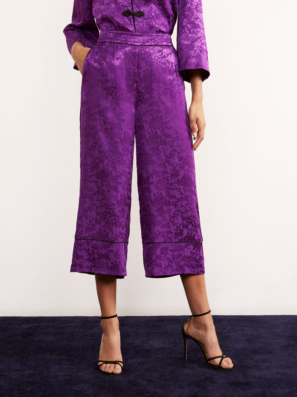 Seema Purple Floral Print Culotte PJ Trousers by KITRI Studio