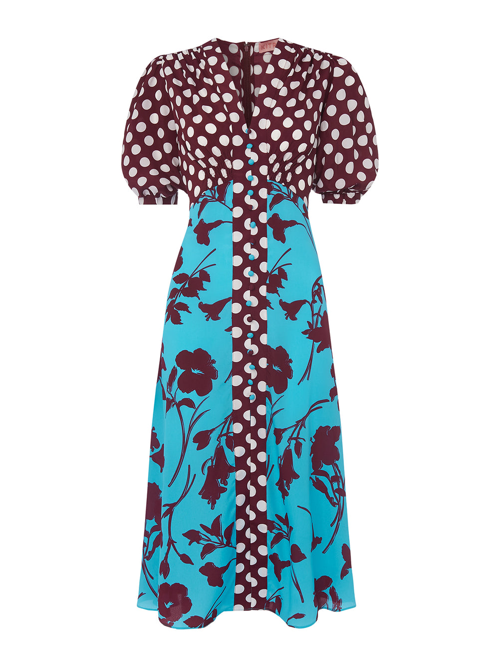 Selena Mixed Print Vintage Tea Dress by KITRI Studio