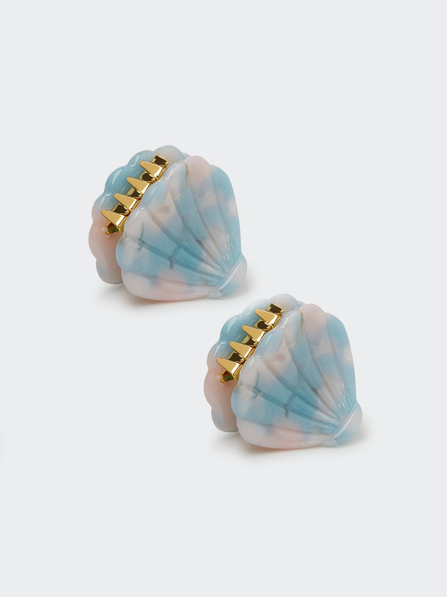 Mini Sky Blue Shell Hair Clips