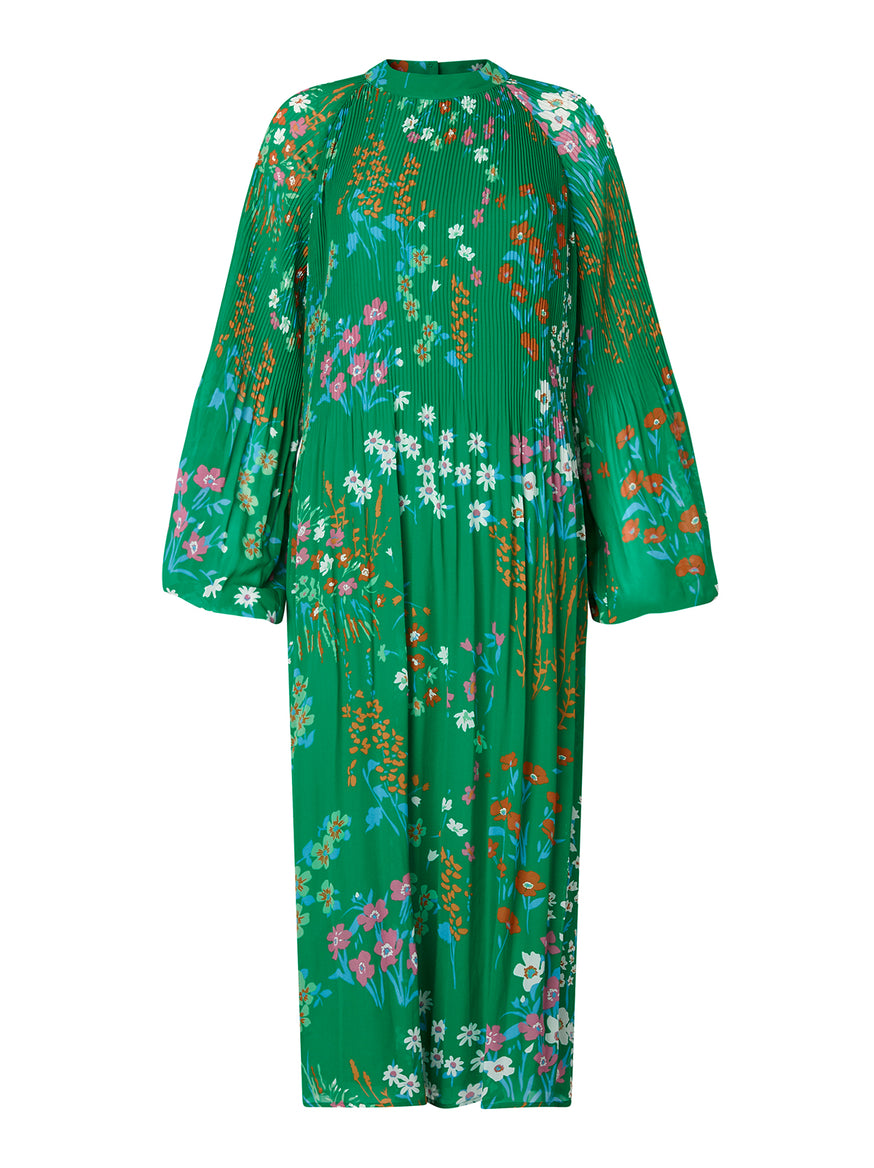 Sofiane Green Floral Print Midi Dress