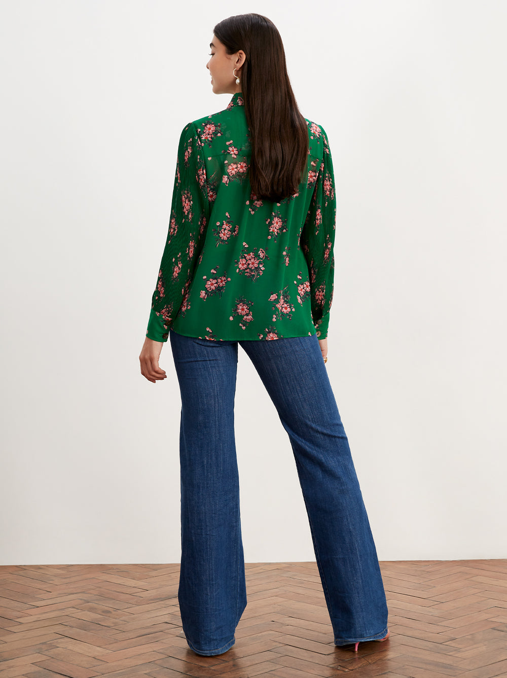Sonya Green Floral Print Pleated Sleeve Blouse by KITRI Studio