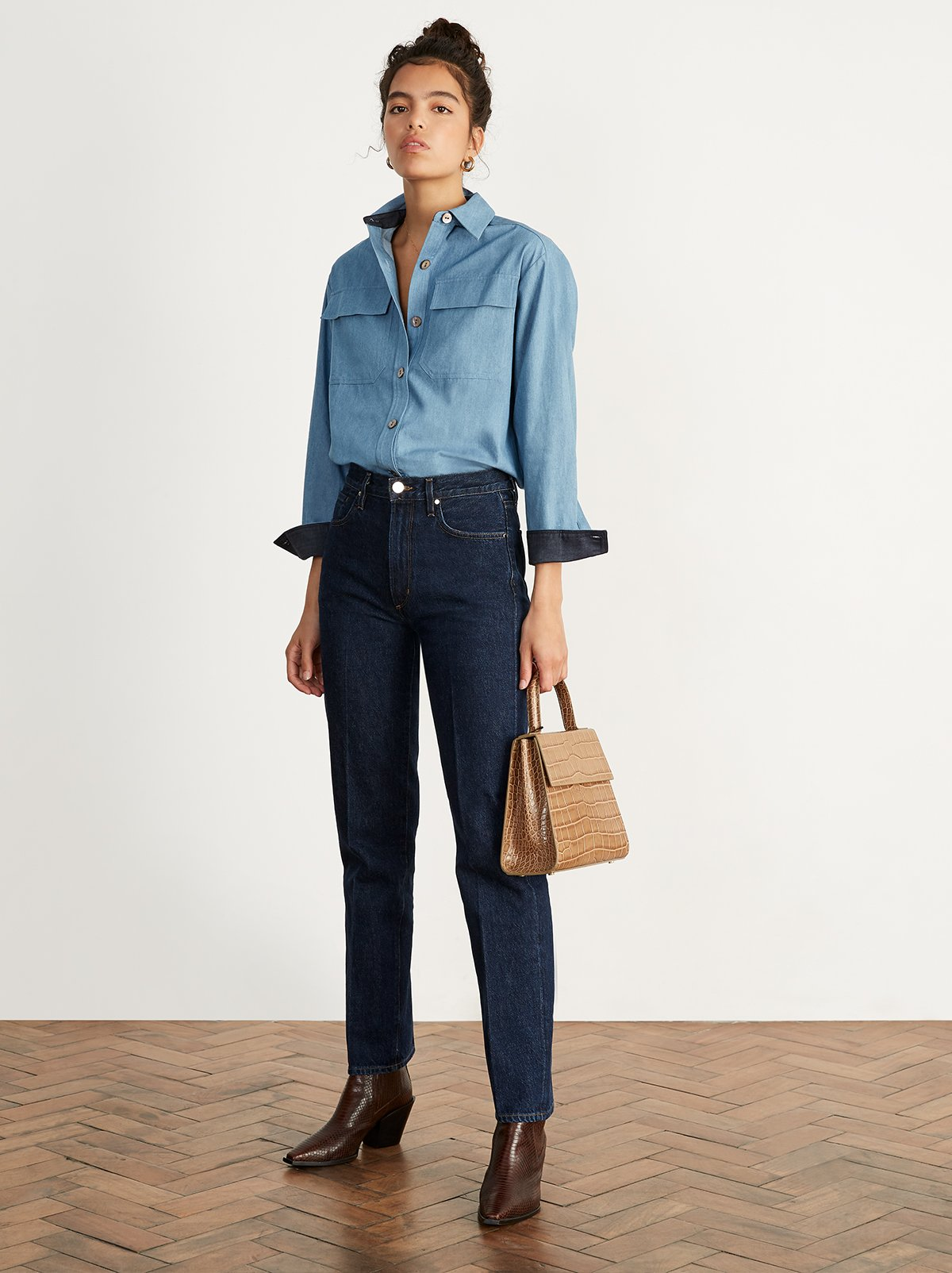 Sora Blue Chambray Shirt by KITRI Studio