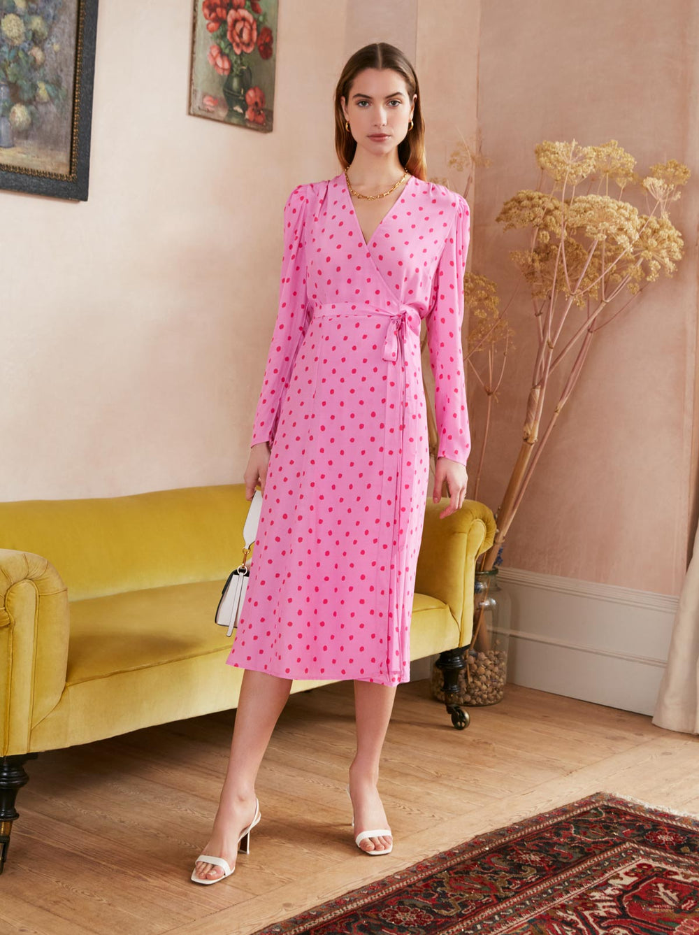 Stephanie Pink Polka Dot Wrap Dress by KITRI Studio