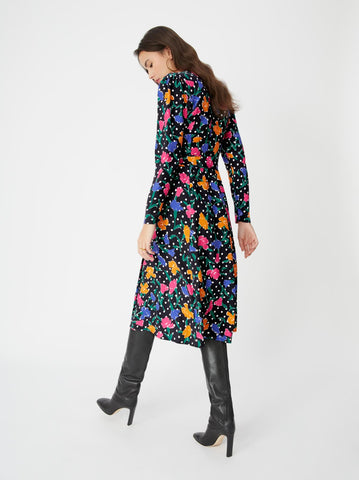 Stephanie Floral Polka Dot Wrap Dress by KITRI Studio