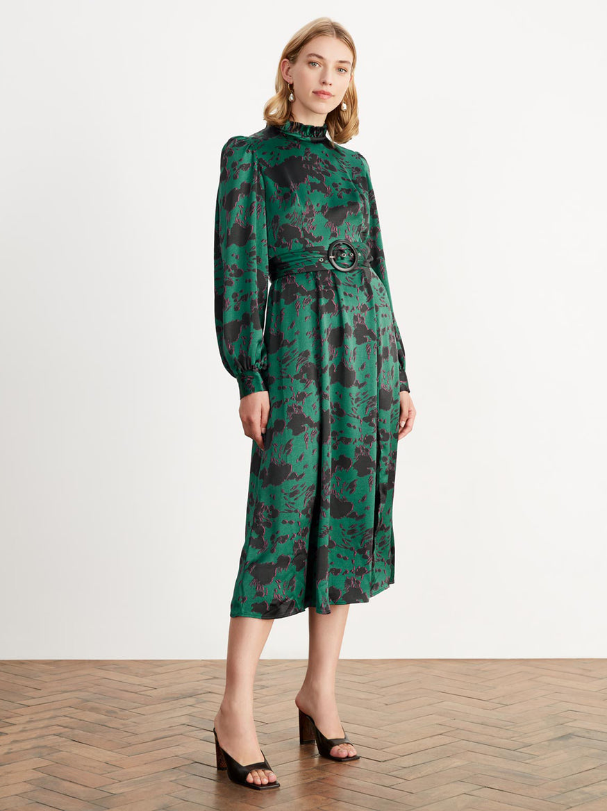 Suzanne Green Cow Print Midi Dress by KITRI Studio